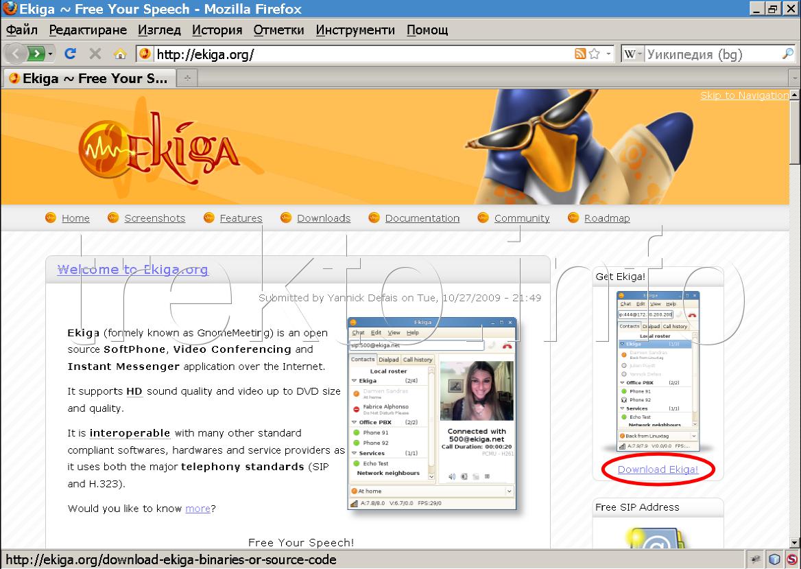 сайт на ekiga